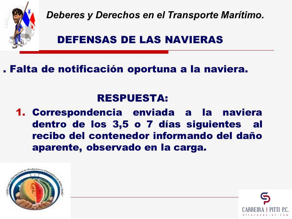 Deberes y Derechos en el Transporte Marítimo. DEFENSAS DE LAS NAVIERAS. Falta de notificación oportuna a la naviera. RESPUESTA: 1.Correspondencia envi