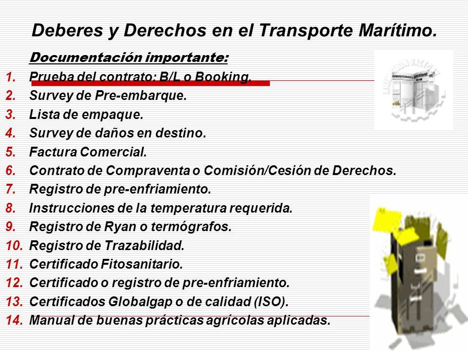 Deberes y Derechos en el Transporte Marítimo. Documentación importante: 1.Prueba del contrato: B/L o Booking. 2.Survey de Pre-embarque. 3.Lista de emp