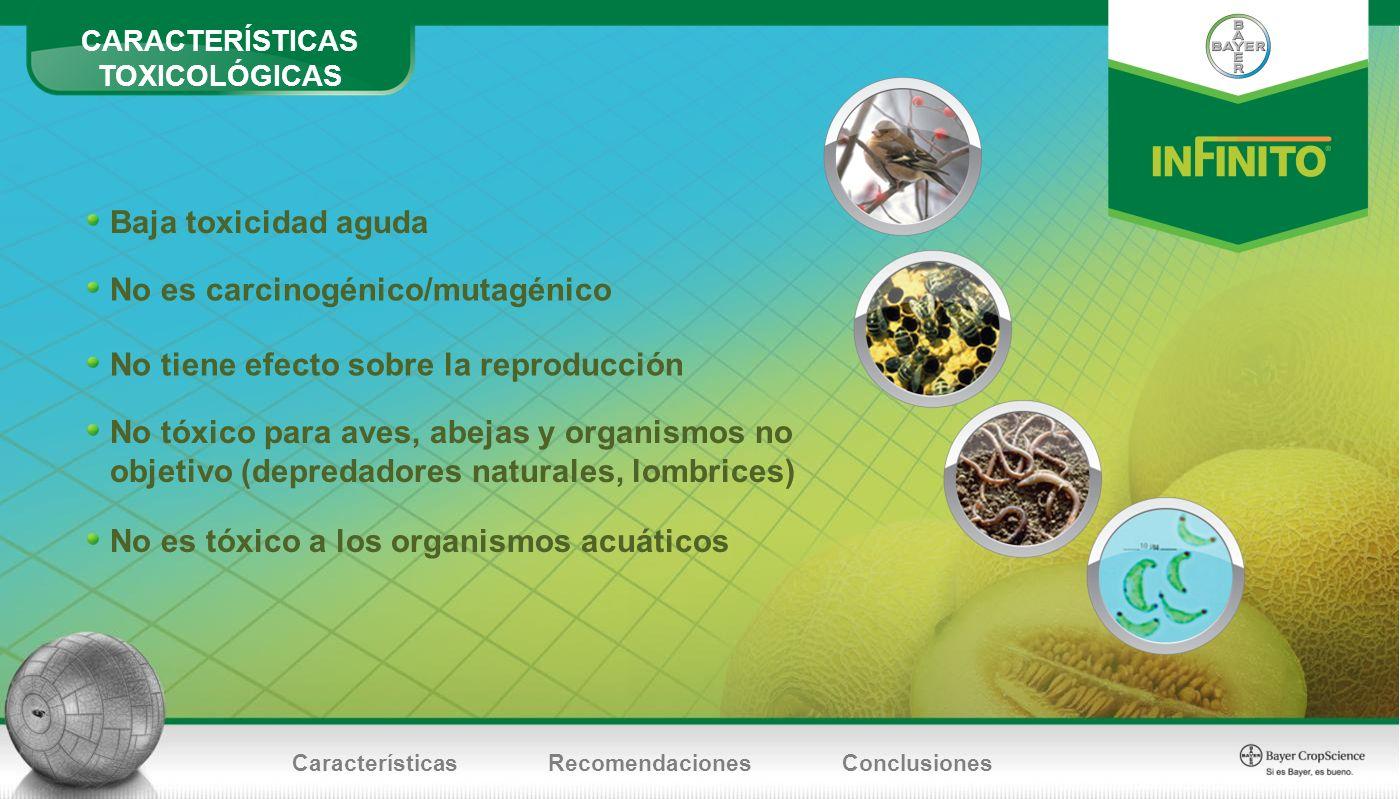No es carcinogénico/mutagénico Baja toxicidad aguda No tiene efecto sobre la reproducción No tóxico para aves, abejas y organismos no objetivo (depred