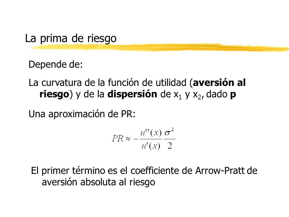 La prima de riesgo La curvatura de la función de utilidad (aversión al riesgo) y de la dispersión de x 1 y x 2, dado p Una aproximación de PR: El prim