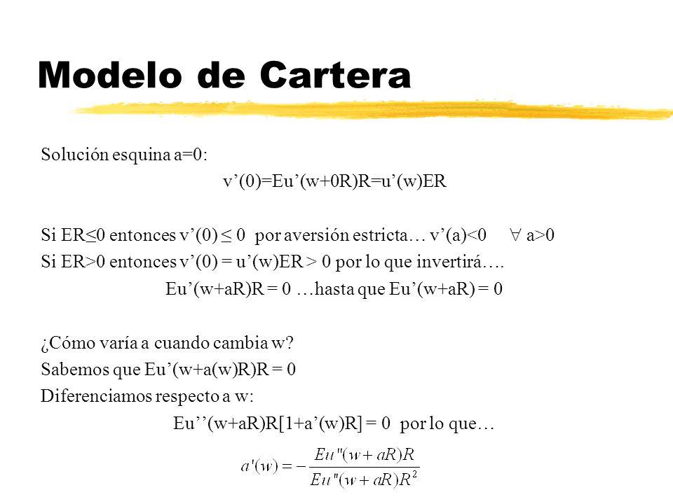 Modelo de Cartera Solución esquina a=0: v(0)=Eu(w+0R)R=u(w)ER Si ER0 entonces v(0) 0 por aversión estricta… v(a) 0 Si ER>0 entonces v(0) = u(w)ER > 0