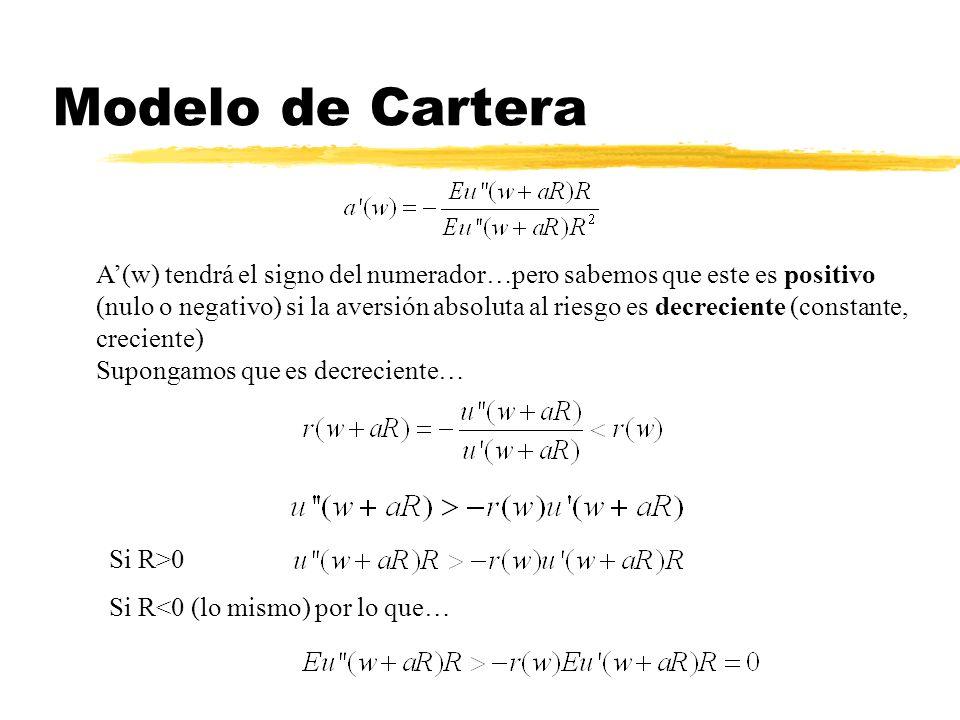 Modelo de Cartera A(w) tendrá el signo del numerador…pero sabemos que este es positivo (nulo o negativo) si la aversión absoluta al riesgo es decrecie