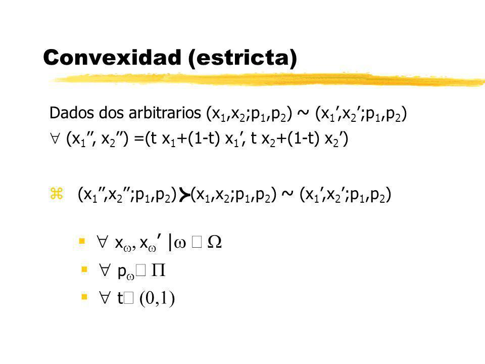 Convexidad (estricta) p x x | Dados dos arbitrarios (x 1,x 2 ;p 1,p 2 ) ~ (x 1,x 2 ;p 1,p 2 ) (x 1, x 2 ) =(t x 1 +(1-t) x 1, t x 2 +(1-t) x 2 ) z (x
