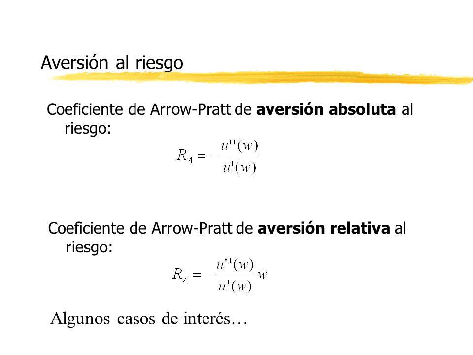 Aversión al riesgo Coeficiente de Arrow-Pratt de aversión absoluta al riesgo: Coeficiente de Arrow-Pratt de aversión relativa al riesgo: Algunos casos