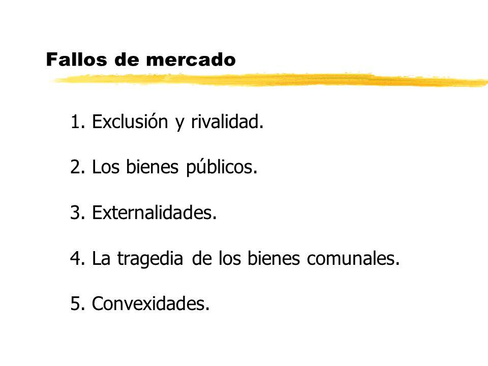 Fallos de mercado 1.Exclusión y rivalidad. 2. Los bienes públicos.