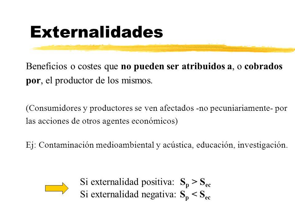 Externalidades Beneficios o costes que no pueden ser atribuidos a, o cobrados por, el productor de los mismos. (Consumidores y productores se ven afec