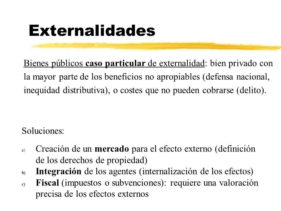 Externalidades Bienes públicos caso particular de externalidad: bien privado con la mayor parte de los beneficios no apropiables (defensa nacional, inequidad distributiva), o costes que no pueden cobrarse (delito).