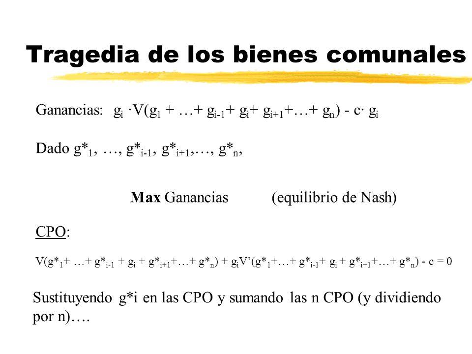 Tragedia de los bienes comunales Ganancias: g i ·V(g 1 + …+ g i-1 + g i + g i+1 +…+ g n ) - c· g i Dado g* 1, …, g* i-1, g* i+1,…, g* n, Max Ganancias
