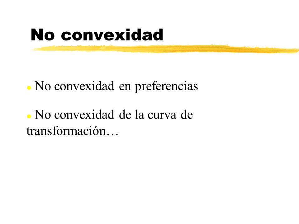 l No convexidad en preferencias l No convexidad de la curva de transformación… No convexidad