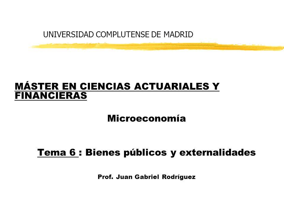 UNIVERSIDAD COMPLUTENSE DE MADRID MÁSTER EN CIENCIAS ACTUARIALES Y FINANCIERAS Microeconomía Tema 6 : Bienes públicos y externalidades Prof.