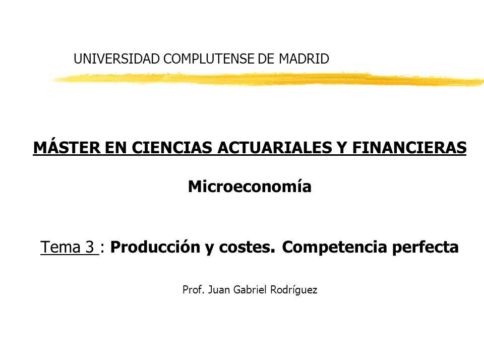 UNIVERSIDAD COMPLUTENSE DE MADRID MÁSTER EN CIENCIAS ACTUARIALES Y FINANCIERAS Microeconomía Tema 3 : Producción y costes. Competencia perfecta Prof.