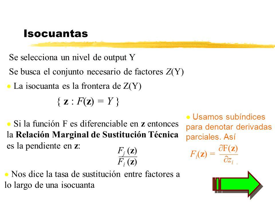 Isocuantas Se selecciona un nivel de output Y Se busca el conjunto necesario de factores Z(Y) La isocuanta es la frontera de Z(Y) { z : F(z) = Y } F(z