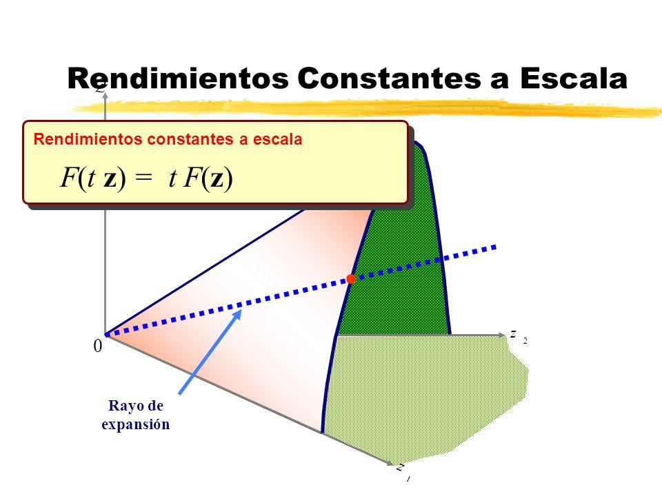 z 2 Q z 1 Rayo de expansión l 0 F(t z) = t F(z) Rendimientos constantes a escala Rendimientos Constantes a Escala