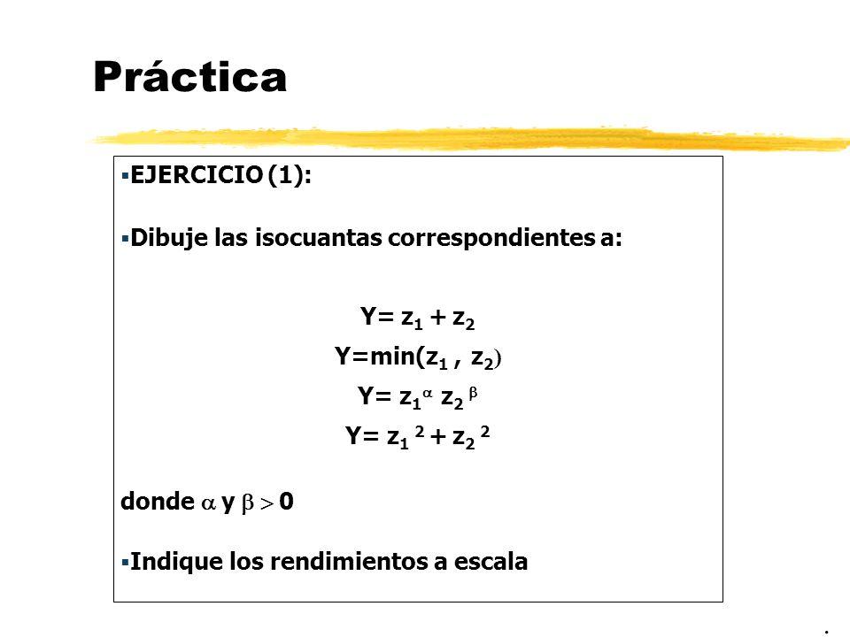 Práctica EJERCICIO (1): Dibuje las isocuantas correspondientes a: Y= z 1 + z 2 Y=min(z 1, z 2 ) Y= z 1 z 2 Y= z 1 2 + z 2 2 donde y 0 Indique los rend