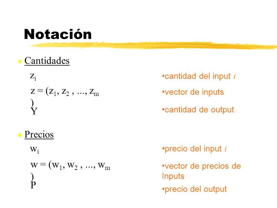 Cantidades zizi Notación cantidad del input i z = (z 1, z 2,..., z m ) vector de inputs cantidad de output Y Precios precio del input i w = (w 1, w 2,