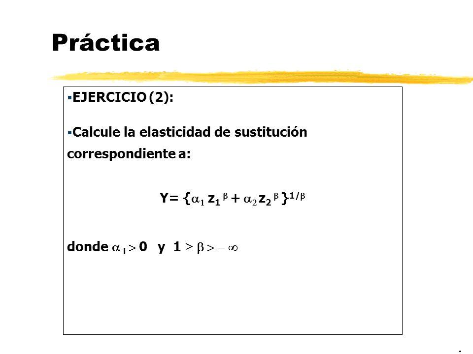 Práctica EJERCICIO (2): Calcule la elasticidad de sustitución correspondiente a: Y= { z 1 + z 2 } 1/ donde i 0 y 1.