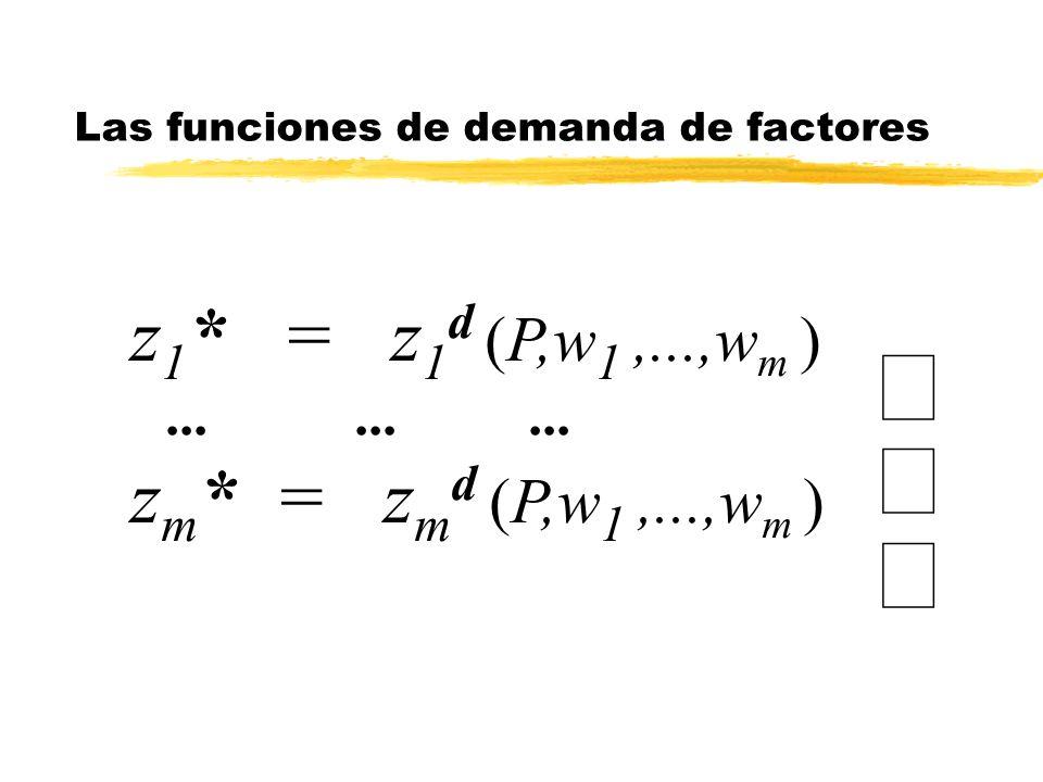 z 1 * = z 1 d (P,w 1,...,w m )......... z m * = z m d (P,w 1,...,w m ) Las funciones de demanda de factores