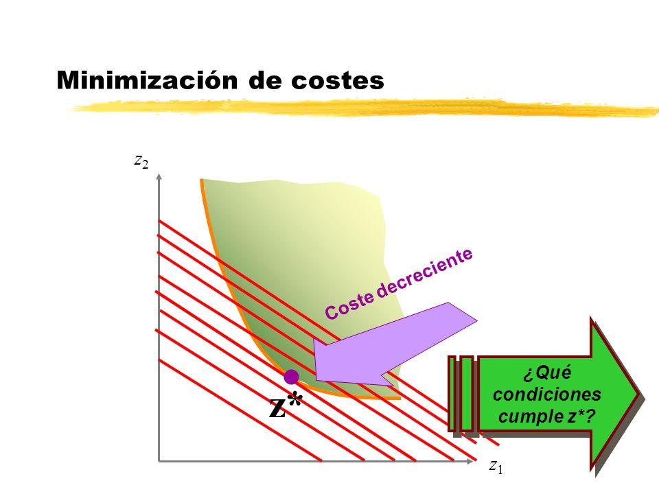 z2z2 z1z1 z* Minimización de costes l Coste decreciente ¿Qué condiciones cumple z*?