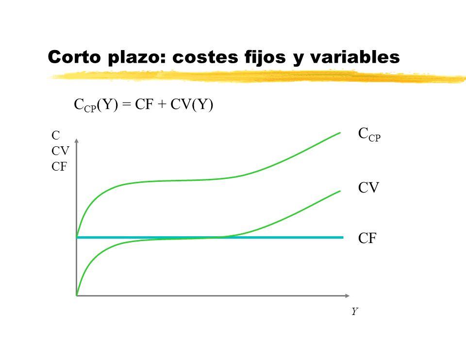 Y Corto plazo: costes fijos y variables C CP (Y) = CF + CV(Y) CF C CV CF CV C CP