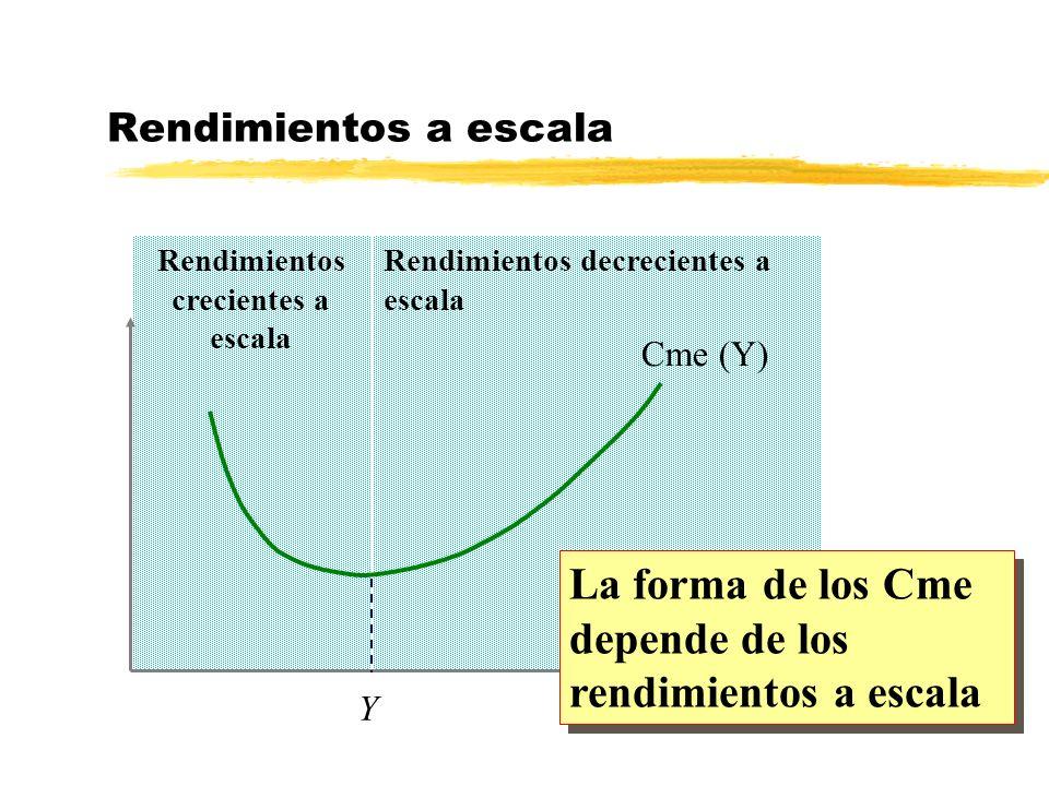 Rendimientos decrecientes a escala Rendimientos crecientes a escala Y Y Cme (Y) La forma de los Cme depende de los rendimientos a escala Rendimientos