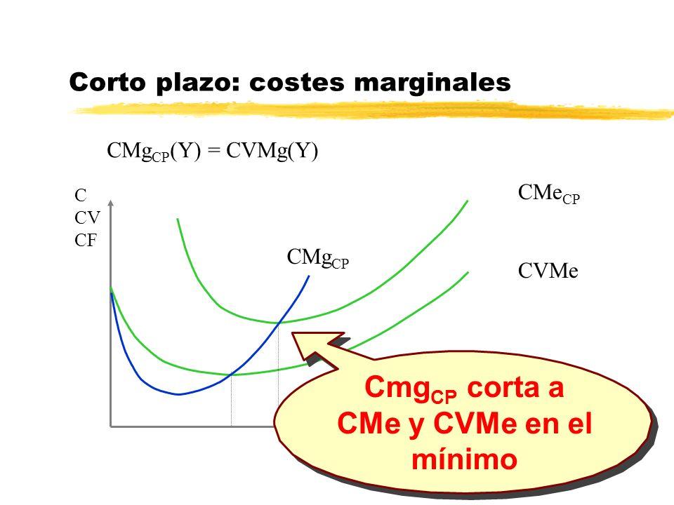 Y Corto plazo: costes marginales CMg CP (Y) = CVMg(Y) C CV CF CVMe CMe CP CMg CP Cmg CP corta a CMe y CVMe en el mínimo