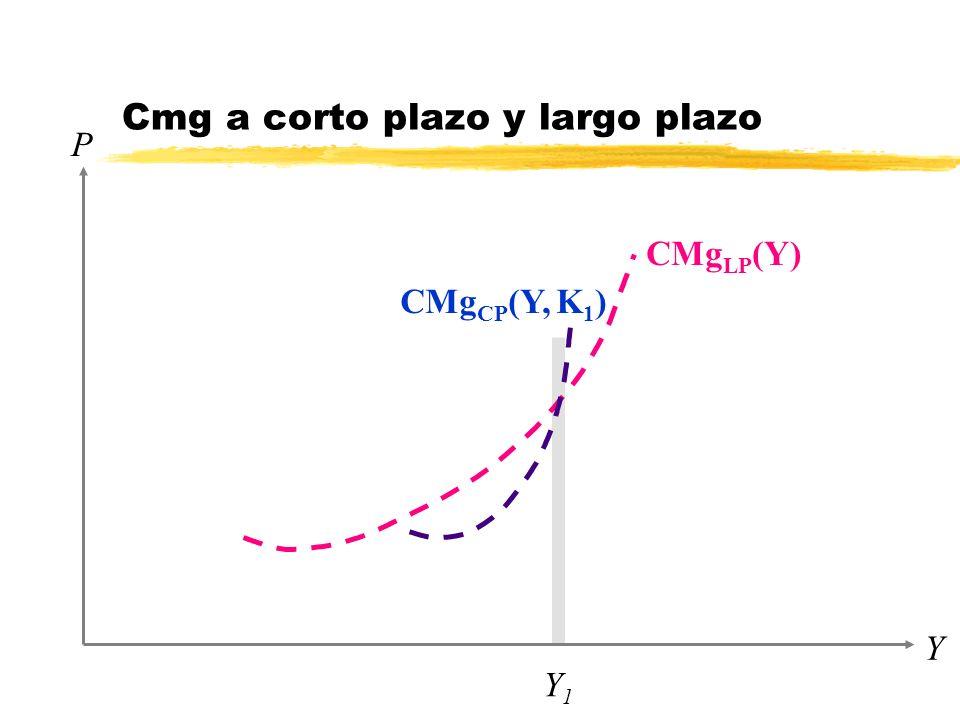 P Y Y1Y1 CMg LP (Y) Cmg a corto plazo y largo plazo CMg CP (Y, K 1 )