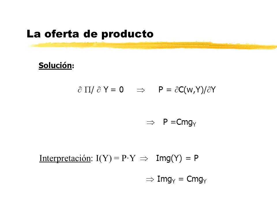 La oferta de producto Solución : / Y = 0 P = C(w,Y)/ Y P =Cmg Y Interpretación: I(Y) = P·Y Img(Y) = P Img Y = Cmg Y