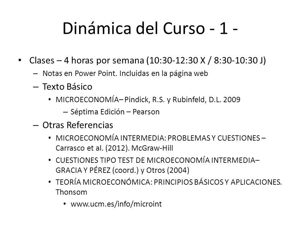Dinámica del Curso - 1 - Clases – 4 horas por semana (10:30-12:30 X / 8:30-10:30 J) – Notas en Power Point. Incluidas en la página web – Texto Básico