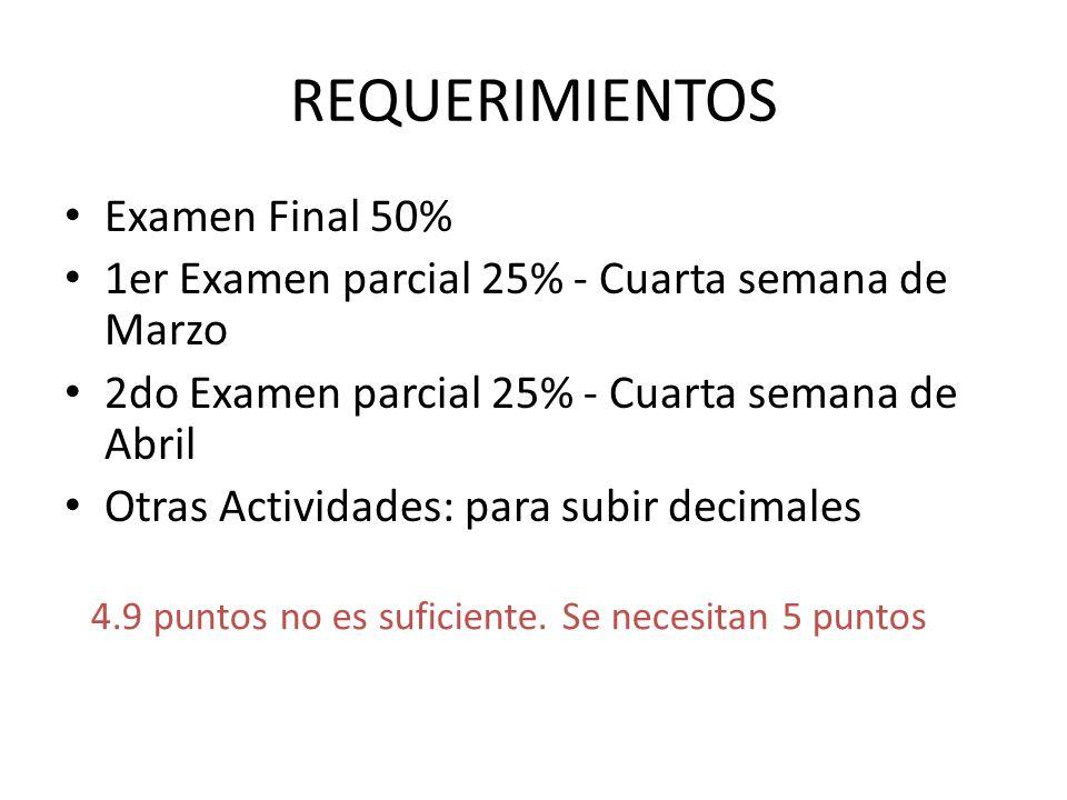 REQUERIMIENTOS Examen Final 50% 1er Examen parcial 25% - Cuarta semana de Marzo 2do Examen parcial 25% - Cuarta semana de Abril Otras Actividades: par