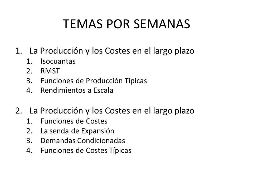 TEMAS POR SEMANAS 1.La Producción y los Costes en el largo plazo 1.Isocuantas 2.RMST 3.Funciones de Producción Típicas 4.Rendimientos a Escala 2.La Pr