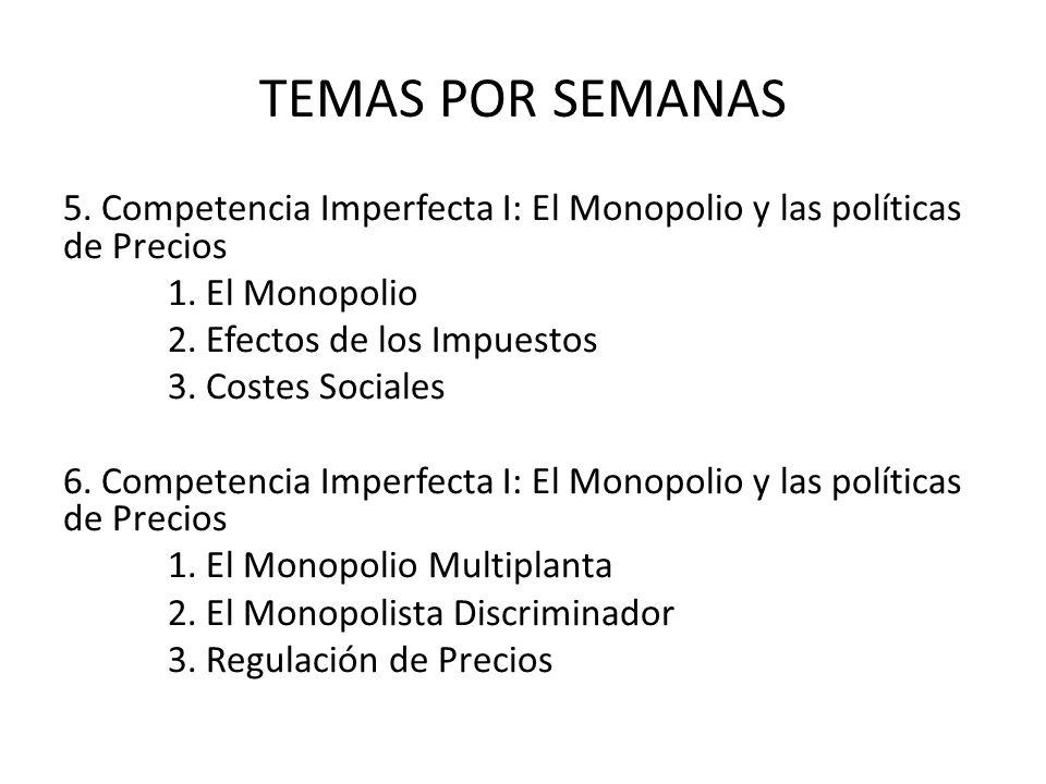 TEMAS POR SEMANAS 5. Competencia Imperfecta I: El Monopolio y las políticas de Precios 1. El Monopolio 2. Efectos de los Impuestos 3. Costes Sociales