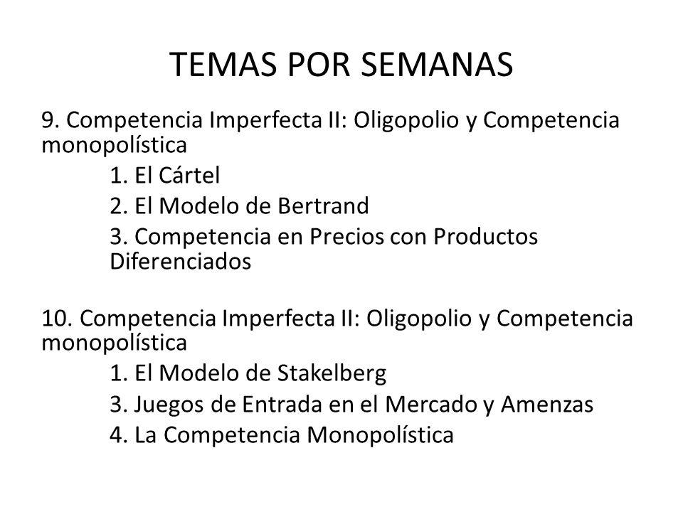 TEMAS POR SEMANAS 9. Competencia Imperfecta II: Oligopolio y Competencia monopolística 1. El Cártel 2. El Modelo de Bertrand 3. Competencia en Precios