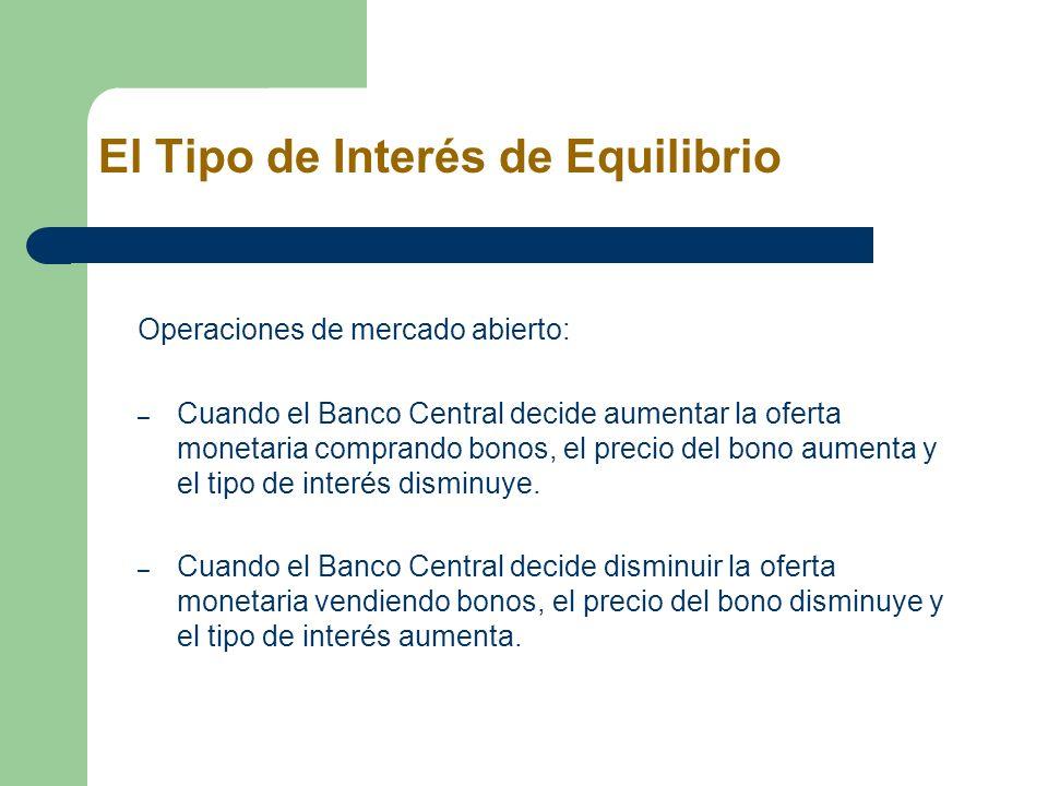 El Tipo de Interés de Equilibrio Operaciones de mercado abierto: – Cuando el Banco Central decide aumentar la oferta monetaria comprando bonos, el pre