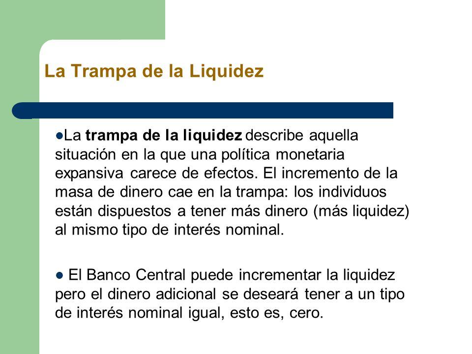 La Trampa de la Liquidez La trampa de la liquidez describe aquella situación en la que una política monetaria expansiva carece de efectos. El incremen