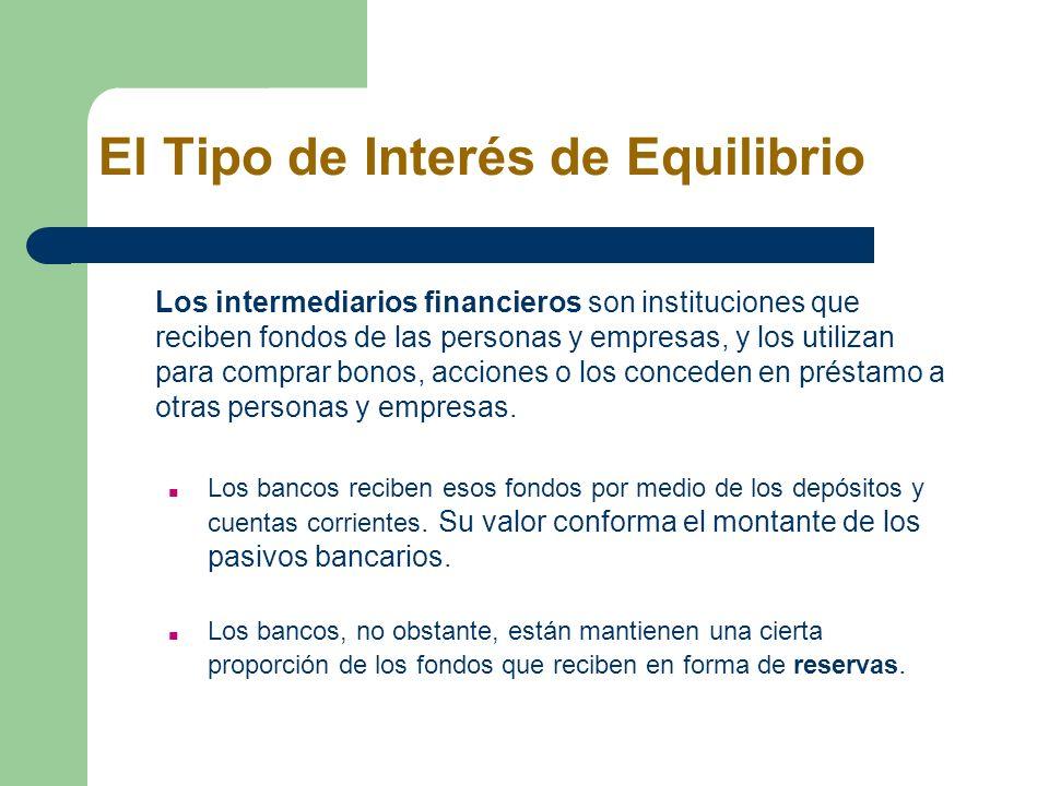 El Tipo de Interés de Equilibrio Los intermediarios financieros son instituciones que reciben fondos de las personas y empresas, y los utilizan para c