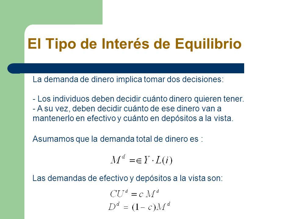 El Tipo de Interés de Equilibrio La demanda de dinero implica tomar dos decisiones: - Los individuos deben decidir cuánto dinero quieren tener. - A su