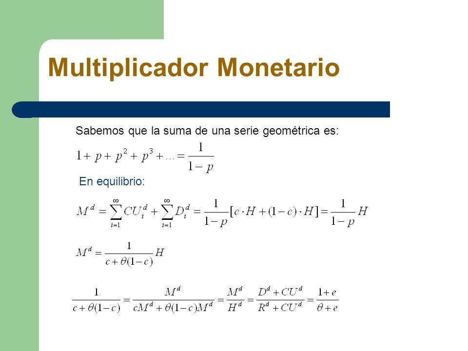 Multiplicador Monetario Sabemos que la suma de una serie geométrica es: En equilibrio: