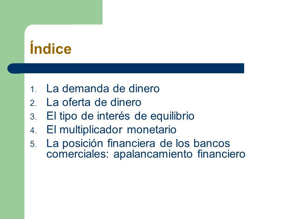 Índice 1. La demanda de dinero 2. La oferta de dinero 3. El tipo de interés de equilibrio 4. El multiplicador monetario 5. La posición financiera de l