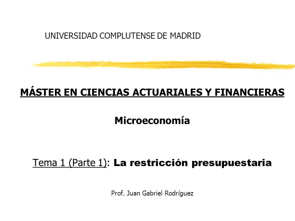 UNIVERSIDAD COMPLUTENSE DE MADRID MÁSTER EN CIENCIAS ACTUARIALES Y FINANCIERAS Microeconomía Tema 1 (Parte 1): La restricción presupuestaria Prof. Jua