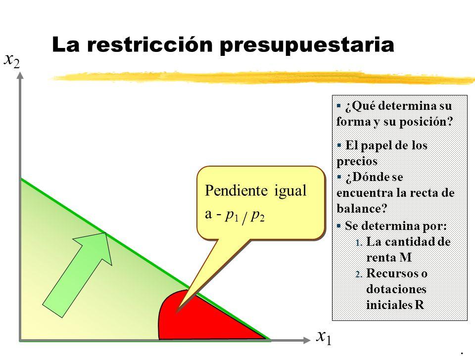 x1x1 x2x2 La restricción presupuestaria ¿Qué determina su forma y su posición? El papel de los precios Pendiente igual a - p 1 / p 2 Se determina por: