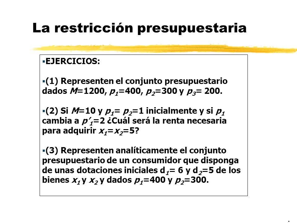 La restricción presupuestaria EJERCICIOS: (1) Representen el conjunto presupuestario dados M=1200, p 1 =400, p 2 =300 y p 3 = 200. (2) Si M=10 y p 1 =