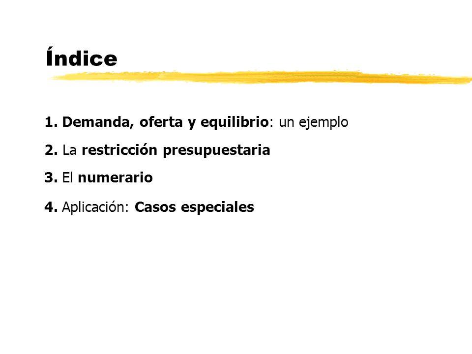 Índice 1. Demanda, oferta y equilibrio: un ejemplo 2. La restricción presupuestaria 3. El numerario 4. Aplicación: Casos especiales