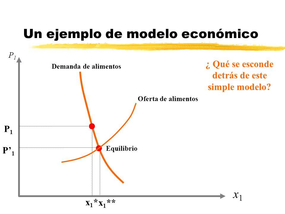 Un ejemplo de modelo económico x1x1 P1P1 x1*x1* x 1 ** P1P1 P1P1 l l Demanda de alimentos Oferta de alimentos Equilibrio ¿ Qué se esconde detrás de es