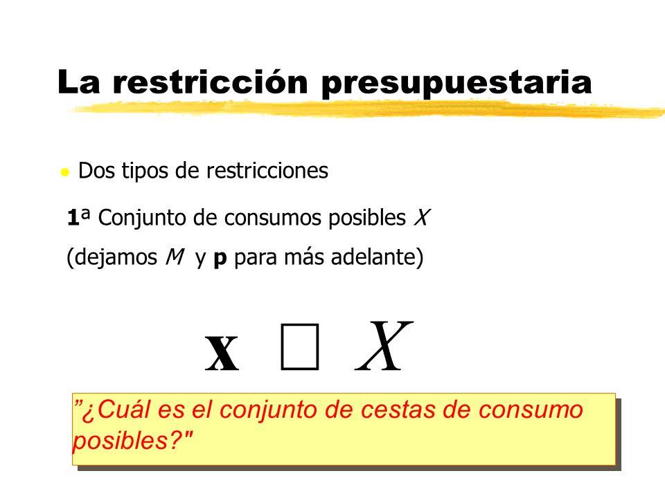 Dos tipos de restricciones 1ª Conjunto de consumos posibles X (dejamos M y p para más adelante) La restricción presupuestaria x X ¿Cuál es el conjunto