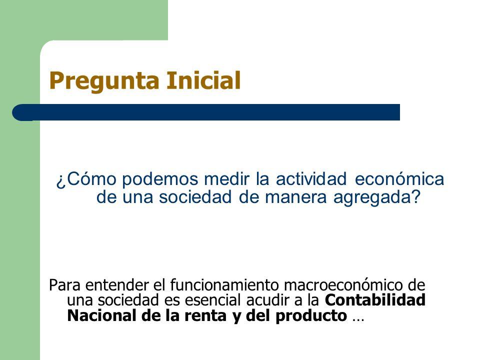 Contabilidad Nacional El producto (y la renta) de un país se mide gracias a la Contabilidad Nacional.