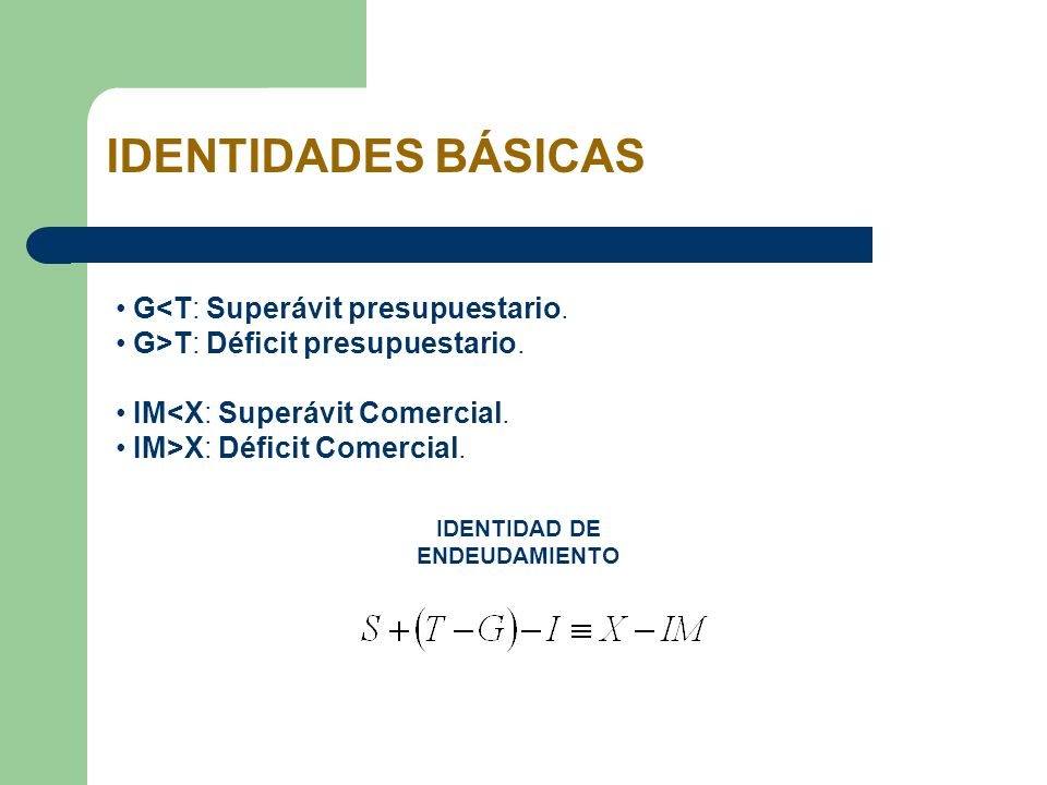 IDENTIDADES BÁSICAS G<T: Superávit presupuestario. G>T: Déficit presupuestario. IM<X: Superávit Comercial. IM>X: Déficit Comercial. IDENTIDAD DE ENDEU
