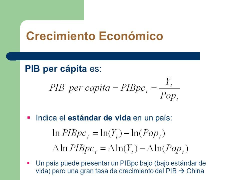 Crecimiento Económico PIB per cápita es: Indica el estándar de vida en un país: Un país puede presentar un PIBpc bajo (bajo estándar de vida) pero una