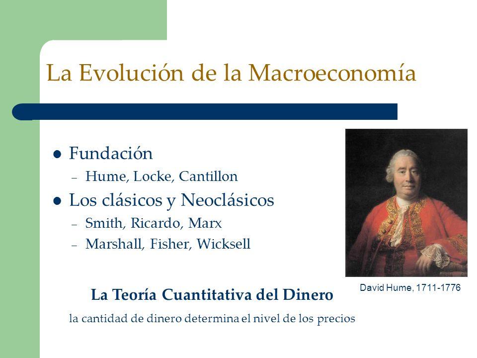La Evolución de la Macroeconomía Fundación – Hume, Locke, Cantillon Los clásicos y Neoclásicos – Smith, Ricardo, Marx – Marshall, Fisher, Wicksell La