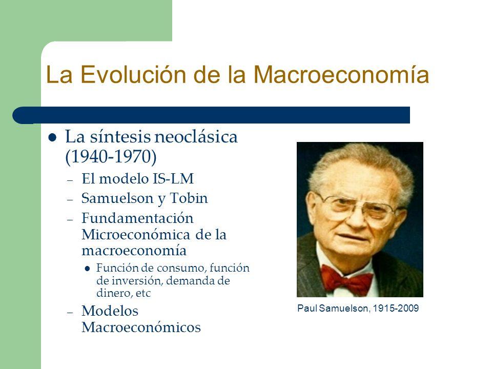 La síntesis neoclásica (1940-1970) – El modelo IS-LM – Samuelson y Tobin – Fundamentación Microeconómica de la macroeconomía Función de consumo, funci