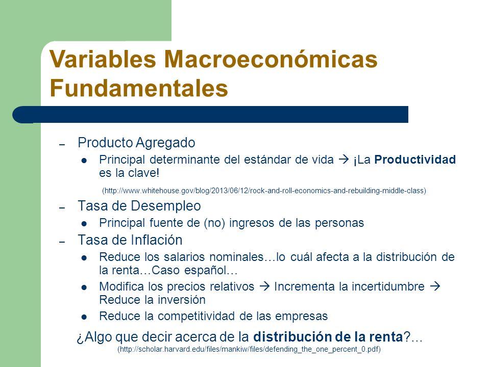– Producto Agregado Principal determinante del estándar de vida ¡La Productividad es la clave! (http://www.whitehouse.gov/blog/2013/06/12/rock-and-rol